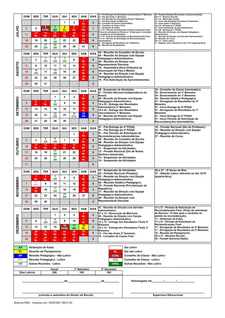 Calendário Escolar - Etec Lorena - 2º semestre/2021